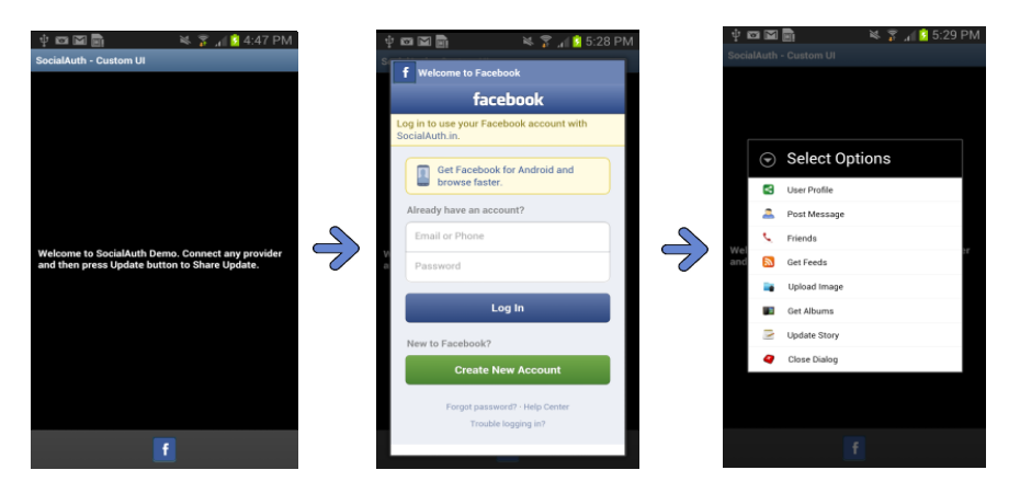 Part 1: Using SocialAuth to Integrate Facebook API in Android