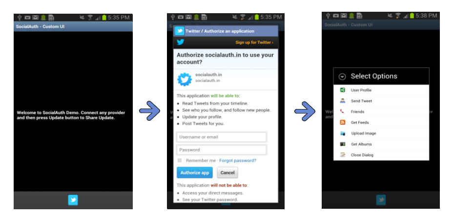 Part 3: Using SocialAuth to Integrate Twitter API in Android