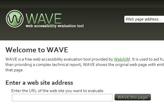 WAVE toolbar